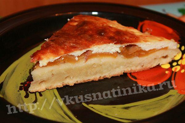Ленивый пирог с персиками