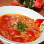 суп капустный с колбасой